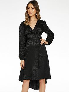 quiz-jacquard-satin-dip-hem-long-sleeve-dress-black