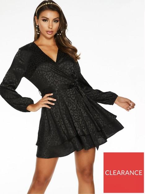 quiz-jacquard-satin-skater-dress-black