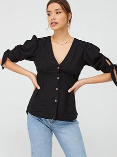 v-by-very-linen-puff-sleeve-blousenbsp--black