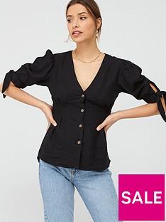 v-by-very-linen-puff-sleeve-blousenbsp--black