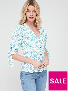 v-by-very-linen-tie-sleeve-button-through-blouse-blue-floralnbsp