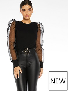 quiz-knitorganza-puff-sleeve-round-neck-jumper-black