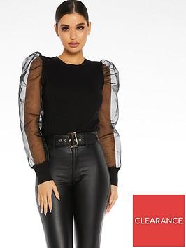 quiz-knitorganza-puff-sleeve-round-neck-jumper-black