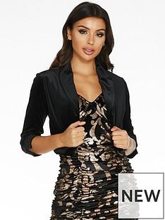 quiz-quiz-black-velvet-shawl-collar-34-sleeve-jacket
