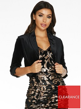 quiz-velvet-shawl-collar-three-quarter-sleeve-jacket-black