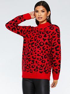 quiz-leopard-print-jumper-red-black