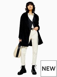 topshop-brushed-longline-coat--black