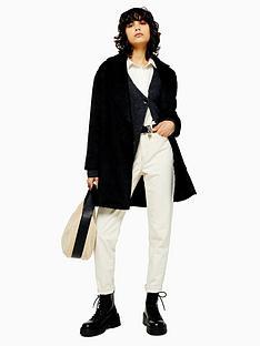 topshop-brushed-longline-coat-black