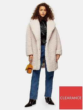 topshop-borg-longline-jacket-ecru