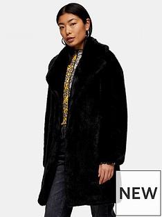 topshop-mid-length-faux-fur-jacket-black