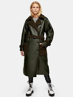 topshop-borg-detail-reversible-trench-coat-khaki