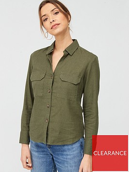 v-by-very-linen-button-through-shirt-khaki