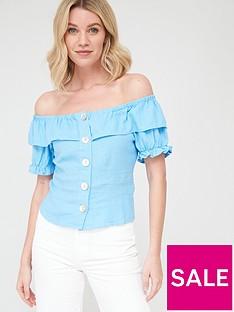 v-by-very-linen-button-through-short-sleevenbspbardot-top-bluenbsp
