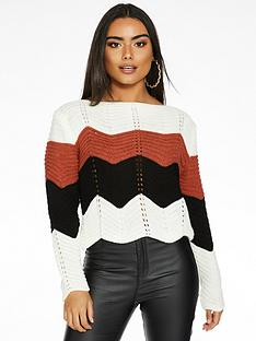 quiz-knitted-jumper-creamrustblack