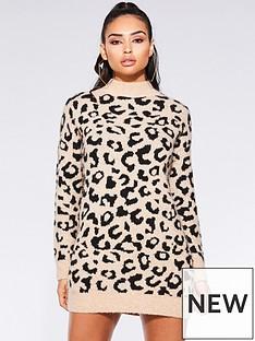 quiz-knit-leopard-print-jumper-stoneblacknbsp