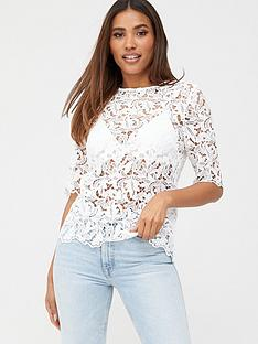 v-by-very-lace-short-sleeve-shell-top-ivory
