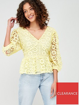 v-by-very-peplum-button-through-lace-blouse-lemon