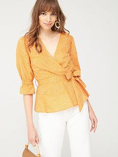 v-by-very-cotton-wrap-blouse-polka-dot