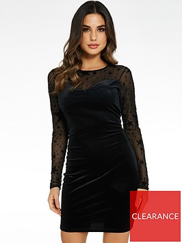 quiz-quiz-black-velvet-star-print-long-sleeve-mesh-sweetheart-bodycon-dress