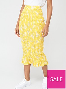 v-by-very-shirred-midi-skirt-yellow-floral