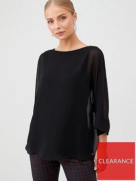 wallis-slash-neck-overlayer-blouse-black