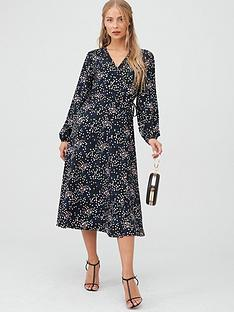 wallis-confetti-print-waterfall-wrap-dress-black