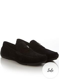 emporio-armani-mens-eagle-logo-suede-loafers-black