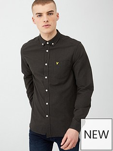 lyle-scott-oxford-shirt-black-olive
