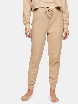 topshop-topshop-brushed-rib-pyjama-jogger-camel