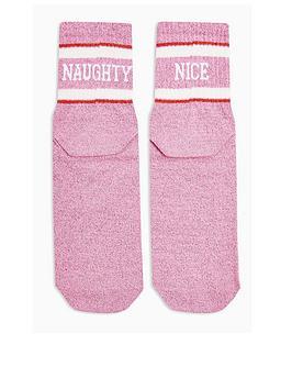 topshop-topshop-naughty-and-nice-christmas-socks-pink