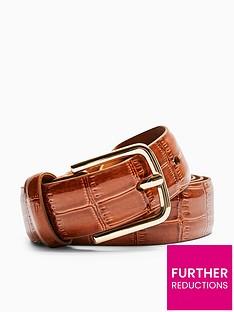 topshop-croc-belt-brown