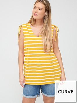 junarose-adella-striped-tie-top-yellow