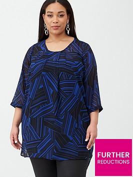 junarose-kidaroy-thre-quarter-sleeve-printed-tunic-black-blue