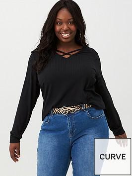 v-by-very-curve-harness-detail-v-neck-top-black