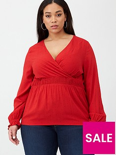 junarose-jasmine-spot-wrap-blouse-red