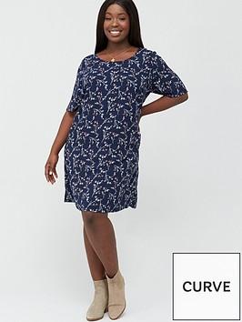 junarose-curve-maika-printed-t-shirt-dress-navy