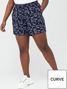 junarose-curve-maika-printed-shorts-navy