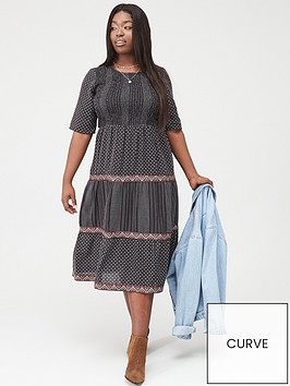 junarose-jelis-shirred-midi-dress-blackwhite