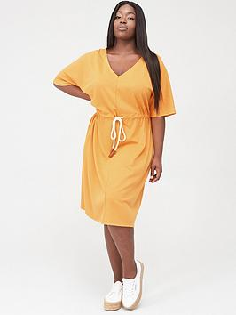 junarose adora cord belt midi dress - apricot