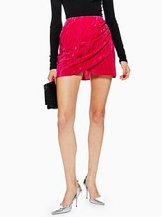 topshop-petite-velvet-drape-mini-skirt-pink