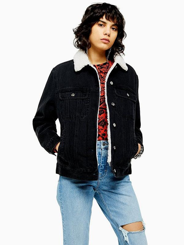 superior quality best online on feet at Borg Denim Jacket - Washed Black