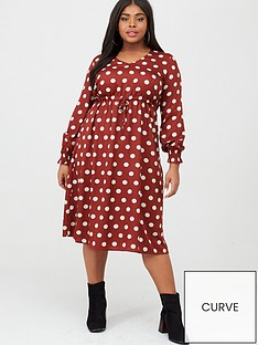 junarose-elly-spot-midi-dress-dark-red