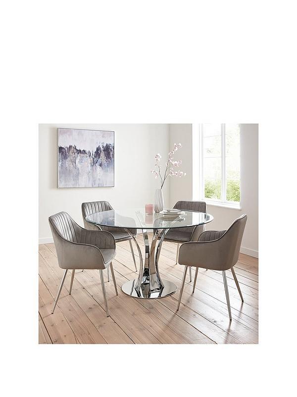 Alice Glass Top Dining Table 4 Alisha Chairs Chrome Grey Very Co Uk