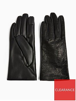 topshop-black-croc-gloves-black