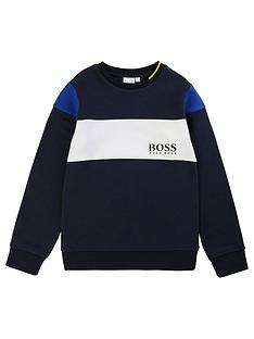 boss-boys-colourblock-crew-sweat-top-blue