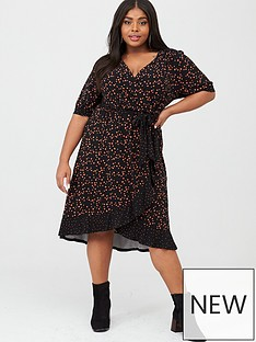 oasis-curve-toffee-spot-ruffle-wrap-dress-multiblack
