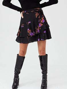 oasis-violet-floral-flippy-skirt-multiblack