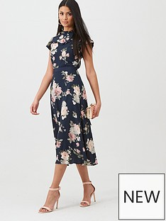 oasis-logan-berry-rose-print-midi-dress-bluenbsp