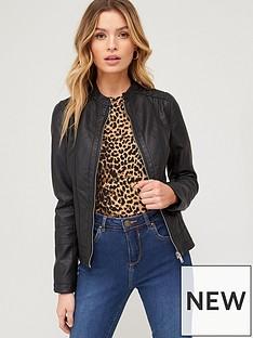 v-by-very-pintuck-detail-pu-jacket-black