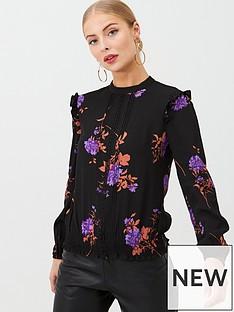 oasis-violet-floral-lace-trim-top-multi-black